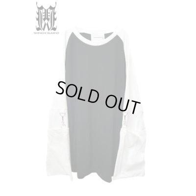 画像1: 【SHINICHI SUMINO】 ラグランムスリンロングスリーブTシャツ / ブラック × ホワイト