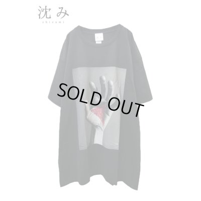"""画像1: 【沈み】 """"ひび"""" プリントTシャツ / ブラック"""