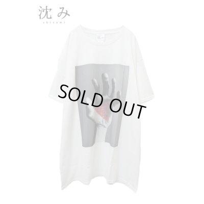 """画像1: 【沈み】 """"ひび"""" プリントTシャツ / ホワイト"""
