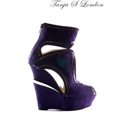 画像1: Sale90%off 【Tanja S London】 ゴールドラインプラットフォームシューズ / パープル